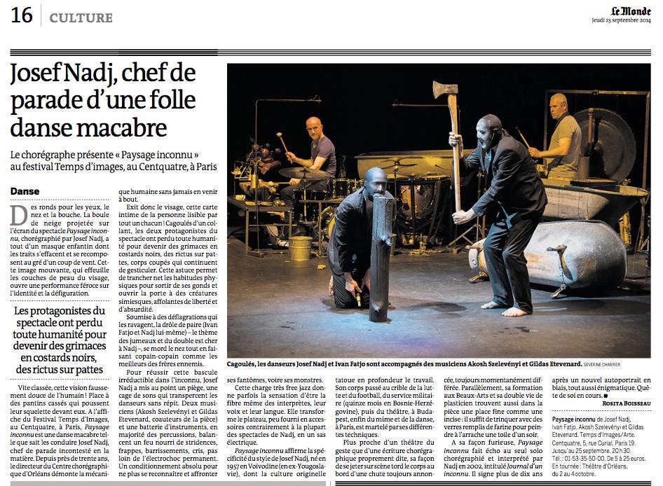 """paysage inconnu """"Le Monde"""" 25/09/2014"""